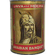 "Vintage ""Arabian Banquet"" Java and Mocha Coffee Tin"