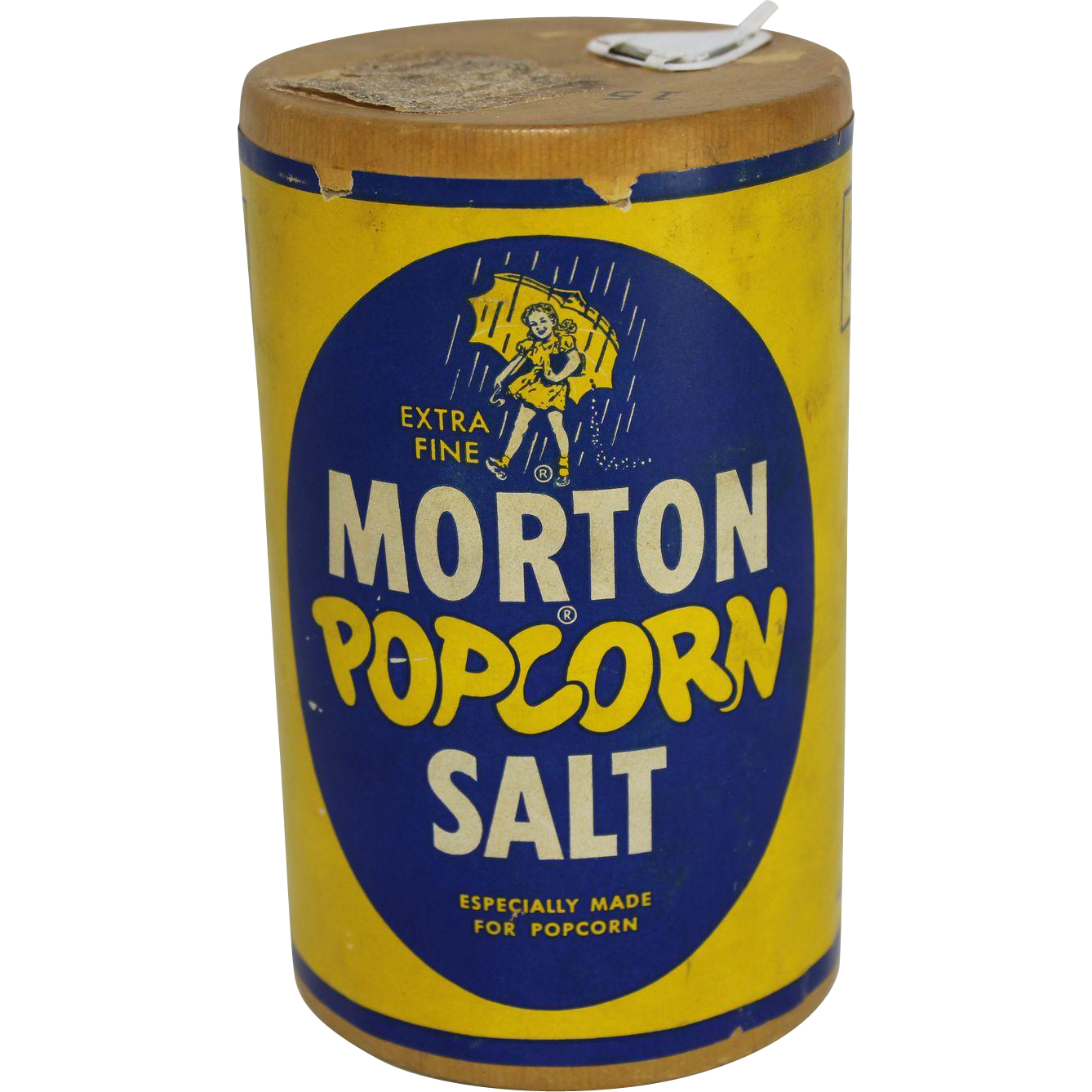 Vintage Morton Popcorn Salt Cardboard Container from thecuriousamerican on Ruby Lane