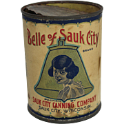 "Vintage ""Belle of Sauk City"" Sweet Corn Tin"