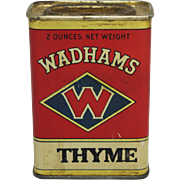 "Vintage ""Wadhams"" Thyme Spice Container"