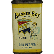 "Vintage ""Banner Boy"" Tin Spice Container"