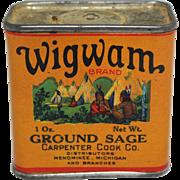 """Vintage """"Wigwam"""" Ground Sage Spice Container"""