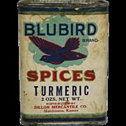 "Vintage ""Bluebird"" Turmeric Spice Container"