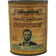 """Rare Vintage N.J.C. Brand """"Lincoln Grade"""" Coffee Container"""