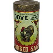 "Vintage ""Dove Brand"" Rubbed Sage Tin Spice Container"