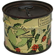 """Coffee From Columbia"" Unopened Sample Key Wind Tin"