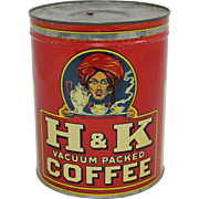 Vintage 3 lb. H.& K. Litho Coffee Tin