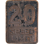 """1940's Distressed Chicago Stamped Steel """"Speed Limit"""" Sign"""