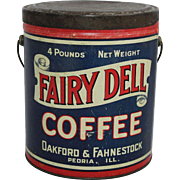"Vintage ""Fairy Dell Coffee"" Tin Pail"