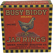 "Rare Vintage ""Busy Biddy"" Box of Rubber Jar Rings"