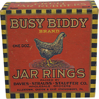 """Rare Vintage """"Busy Biddy"""" Box of Rubber Jar Rings"""