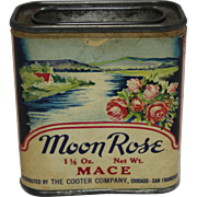"Vintage ""Moon Rose"" Tin Spice Container"