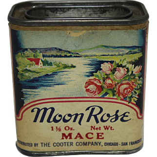 """Vintage """"Moon Rose"""" Tin Spice Container"""