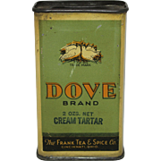 "Vintage ""Dove Brand"" Tin Spice Container."