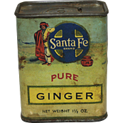 "Vintage ""Santa Fe Brand"" Ginger Spice Container"
