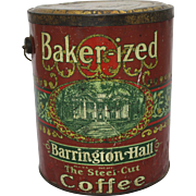 "Vintage ""Baker-ized"" Barrington Hall  5 lb. Coffee Pail"