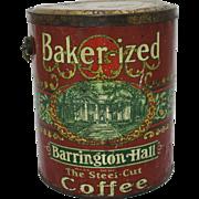 "Vintage ""Baker-ized"" Barrington Hall  5 lb. Coffee Pail"