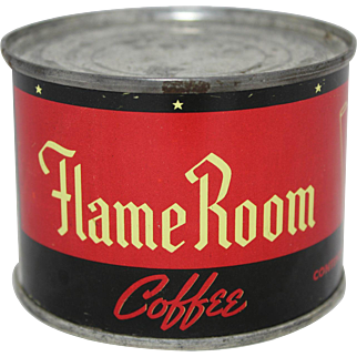 """Small 4 oz. """"Flame Room""""  Unopened Coffee Tin"""