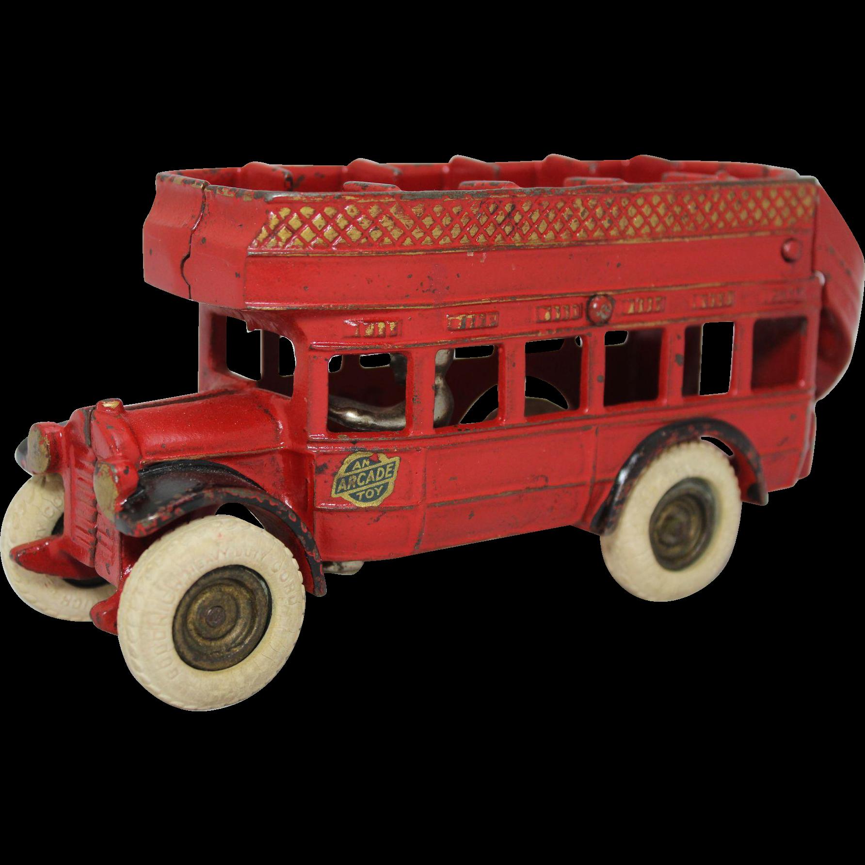 "Arcade 8"" Cast Iron Double-Deck Coach Bus"