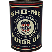 "Vintage 1 Qt. Unopened ""Sho-Me"" Motor Oil Can"