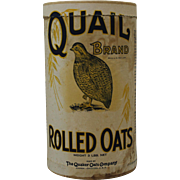 "Vintage ""Quail Brand"" Rolled Oats Cardboard Container"
