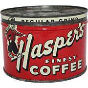 "Vintage ""Hasper's"" Key Wind Coffee Can"