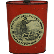 "Pre-1911 ""Kentucky Rifle Gunpowder"" Tin Flask"