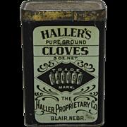 "Vintage ""Haller Proprietary Company"" Cloves Spice Tin"