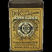 """Vintage """"Dr. Koch"""" Allspice Tin"""