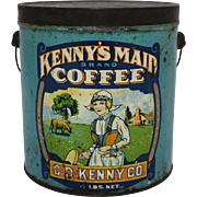 "Vintage ""Kenny's Maid"" Coffee 4 lb. Tin Pail"