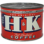 Vintage H & K Keywind Coffee Tin