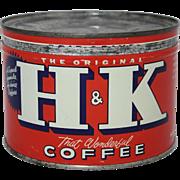 Vintage H & K Keywind Coffee Tin