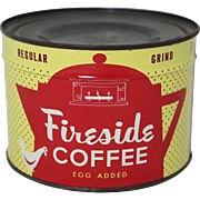 "Vintage Unopened ""Fireside"" Coffee"" 1 lb. Tin"