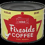 "Vintage Unopened ""Fireside"" Coffee"" 1 lb. Tin"