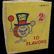 """Vintage """"Dum-Dum Pops"""" Cardboard Box"""