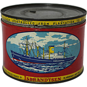 "Vintage ""Isbrandtsen"" Key Wind Coffee Tin"
