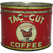 "Early 1930's ""Tac-Cut"" Key Wind Coffee Tin"