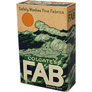 "1950's Colgate ""Fab"" Unopened Sample Size Detergent Box"