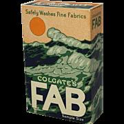 "1950's Colgate ""Fab"" Unopened Sample Size Detergent Box"