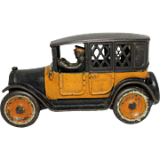 "1920's Arcade 8"" Yellow Cab Bank"