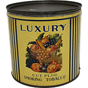 "Vintage 1941 ""Luxury"" Cut Plug Tobacco Tin"
