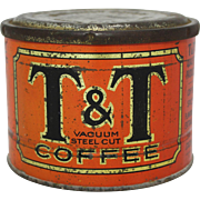 "Vintage Rare Chicago ""T&T"" Coffee Tin"