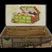 "Turn of Century ""Treasury"" Wooden Cigar Box"