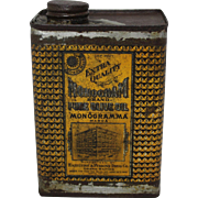 "Early 1900's ""Monogram Brand"" Pure Olive Oil Tin"