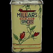 """Vintage """"Millars Excelsior"""" White Pepper Spice Tin"""