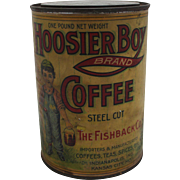 "Rare ""Hoosier Boy"" 1 lb. Coffee Tin"