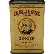 "Vintage ""Our Judge Brand"" Ginger Spice Tin"