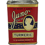 "Vintage ""Juno Brand"" Turmeric Spice Tin"