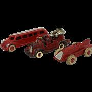 Three 1930's Hubley Cast Iron Toy Vehicles