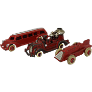 Three 1930's Hubley Cast Iron Toy Vehicles